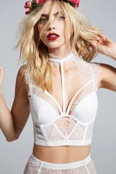 Love, Courtney by Nasty Gal Burn Black Lace Bustier - White - Designed By Us