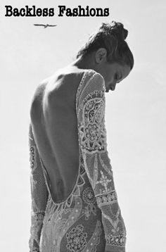 backless dress. lace.