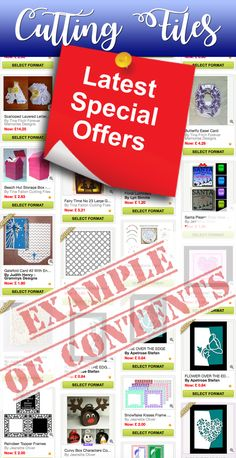Check out the latest Special Offers in our Cutting Files Section on CraftsUprint! For a variety of Cutting File machines including Craft Robo, Cricut,  Scan N Cut, Silhouette and more... Offers are changed and updated regularly
