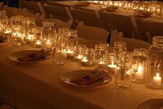 mason jar candles wedding | Wedding Decor That Is Fun & Frugal