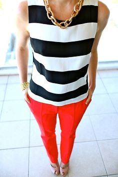 LOVE black or navy and white stripes with red pants. Must find something like this asap.