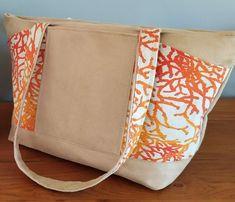 Sac Biguine beige à coraux oranges cousu par Florence - Patron Sacôtin