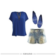 Look confortável e relax | Bata azul + Short jeans destroyed + Mocassim azul  #moda #look #outfit #looknowlook