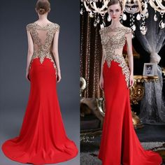 Elegant Red Satin Evening Dresses 2016 Sheer Applique Mermaid Prom Gowns For Women Bateau Neckline See Through Back Cap Sleeve Sweep Train Girls Evening Dresses Halter Neck Evening Dress From Dmronline, $118.9| Dhgate.Com