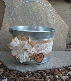 Wedding Bucket Personalized Flower Girl Bucket Burlap and #weddingflowers