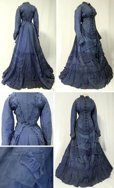 One-piece day dress, ca. mid- to late-1870s. Medium-weight blue wool/cotton blend fabric, mostly hand-stitched except for bodice and some trim. Ruched with self-fabric; 11 dark blue silk-covered buttons. Bodice and hem lined with brown cotton. ariava100/ebay