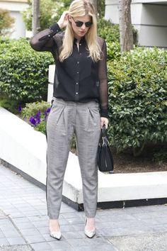 black Equipment blouse - heather gray Topshop pants