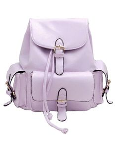 Preppy Drawstring Candy Color Backpack