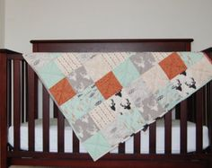 Modern Baby Quilt | Art Gallery | Gender Neutral | Mint, Gray, Tan, Stag, Feathers, Dark Gray Minky Backing