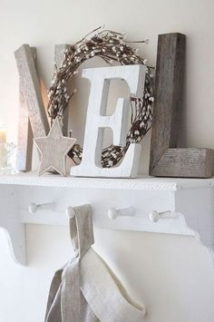 simple & organic-use starfish in place of wooden star-sand dollar for the letter O