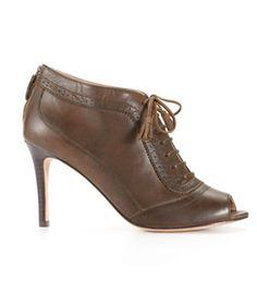 Menswear-Inspired Fashion 11/4/10: Melanne Oxford Peeptoe Bootie by Ann Taylor, $198
