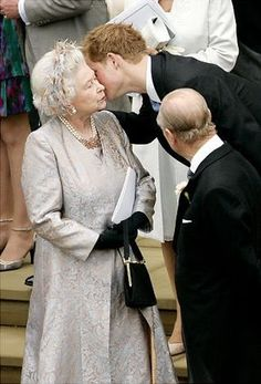 Prince Harry with Queen Elizabeth ll. So sweet.