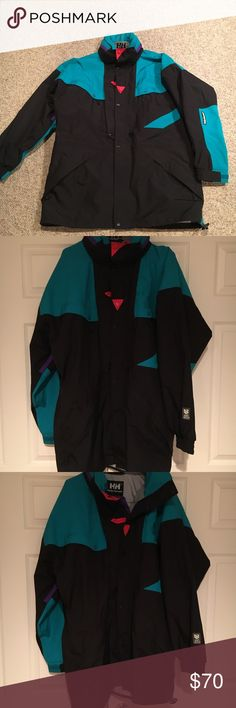 Vintage Helly Hansen Equipe Colorblock Jacket XL This amazing like new Helly Hansen black Equipe Colorblock Jacket looks like it has been tried on once and that's it- comes to you in a size Xl. The jacket is waterproof has the Helly Tech lining inside meant to keep cold out. Amazing ski snow sail jacket. Helly Hansen Jackets & Coats Ski & Snowboard