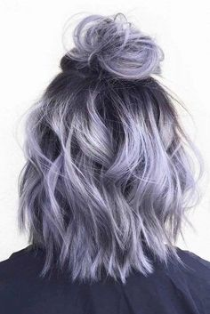 Silver gray ombre hair color ideas for short hair managed to supplant the burnin.,Silver gray ombre hair color ideas for short hair managed to supplant the burning red, cold blue and extravagant purple hair dye. This shade is quite,. Grey Ombre Hair, Dyed Hair Purple, Dye My Hair, Gray Purple Hair, Purple Bob, Light Purple Hair, Dyed Hair Pastel, Periwinkle Hair, Dyed Hair Ombre