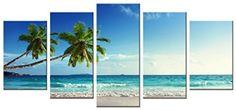 Wieco Art Modern Artwork Contemporary Sea Beach Canvas Picture Wall Home Decor #WiecoArt