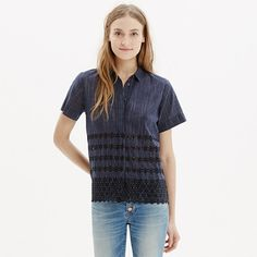 A feminine button-down shirt in a mix of indigo stripes and eyelet lace. With a clean covered placket and soft flutter sleeves, this one has the boy-meets-girl thing on lock. <ul><li>True to size.</li><li>Cotton.</li><li>Machine wash.</li><li>Import.</li></ul>