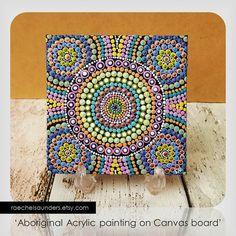 Aboriginal Dot Art Rainbow Painting, Acrylic paint on Canvas Board, Hand Painted Original, 10cm x 10cm, Rainbow decor, Rainbow design
