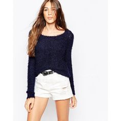 Only Light Knit Long Sleeve Jumper ($18) ❤ liked on Polyvore featuring tops, sweaters, navy, navy jumper, white sweater, knit top, white top and long sleeve knit sweater