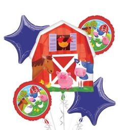 Happy Birthday Balloon Bouquet 5pc - Barnyard Friends