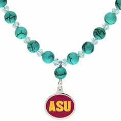 Arizona State Sun Devils Turquoise Necklace made in solid sterling silver with enameled background. This necklace combines our high quality Arizona State enamel charm with sterling silver and Turquoise color dyed Howlite. $89
