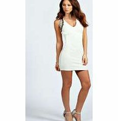 boohoo Kasie Embellished Textured Bodycon Dress - cream Textures and beaded trims take this bodycon dress to new style heights for the new season. Style it statement with an embellished clutch , skyscraper heels and a bold lip . http://www.comparestoreprices.co.uk/dresses/boohoo-kasie-embellished-textured-bodycon-dress--cream.asp
