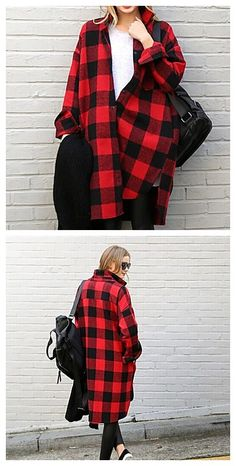 Women's Plaid Red Coat, rock and roll in black and red.