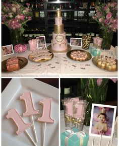 Pink & Gold 1st Birthday Party Dessert Table... White Chocolate #1 Lollipops... One year old birthday candy favors...  www.rosebudchocolates.com