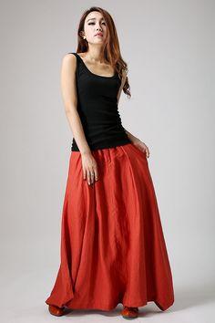 Maxi falda naranja falda boho lino falda faldas largas para
