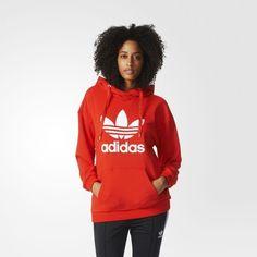adidas Trefoil Hoodie - Red | adidas US (1,255 MXN) ❤ liked on Polyvore featuring tops, hoodies, hoodie top, trefoil logo hoodie, hooded pullover, red top and sweatshirt hoodies