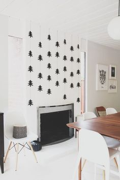 Get the Look: A Simple Scandinavian Christmas in Black and White. LOVE this image, could easily do at home.