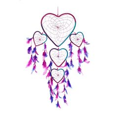 "Dream Catcher ~ Handmade Aqua, Pink & Purple Heart Shape 8.5""W x 24""L – <3 CaughtDreams.com <3"
