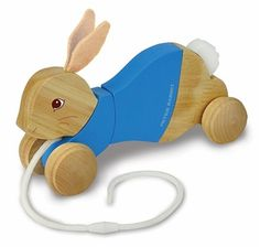 Peter Rabbit Wooden Classic Pull Toy. Vintage Pull toy in handmade wood. A fabulous gift idea - pair with Peter Rabbit Book and Jack-in-the-box for the complete set.