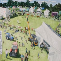 View the painting: County Fair by Francis Farmar Village Fete, County Fair, Roller Coaster, Naive, Folk Art, Illustration Art, Around The Worlds, British, Paintings