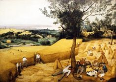 The Harvesters, 1565 Pieter Bruegel the Elder (Netherlandish, ca. 1525–1569) Oil on wood Overall, including added strips at top, bottom, and right, 46 7/8 x 63 3/4 in. (119 x 162 cm); original painted surface 45 7/8 x 62 7/8 in. (116.5 x 159.5 cm)