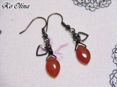 Earrings マーキス型赤メノウのピアス ハンドメイド インテリア 雑貨 Handmade ¥420yen 〆11月28日