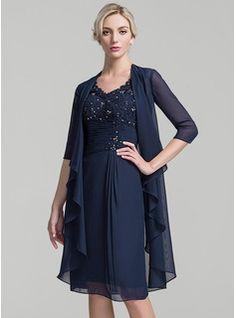 Etui-Linie V-Ausschnitt Knielang Chiffon Kleid für die Brautmutter mit Rüschen Perlstickerei Pailletten