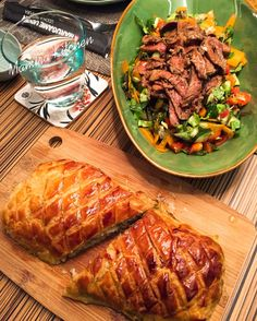 Salmon en Croute and Spicy Beef Salad on My Table #Gordon Ramsay Recipes