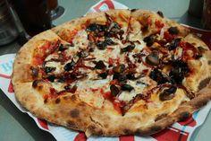 AltPizza, my yummy DIY pizza - tomato base, mozzarella, sun dried tomatoes, roasted mushrooms and pine nuts