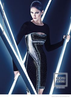 Launching its fall-winter 2014 advertising campaign, Herve Leger by Max Azria goes in a futuristic direction with these images starring model Maria Flavia
