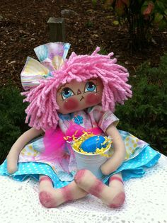 "13"" PRIMITIVE EASTER RADDEDY ANN DOLL BY PRIIMTIMES #201530 #NaivePrimitive"