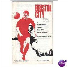 Bristol City v Derby County Football Programme 28/03/1967 Division 2 Sale