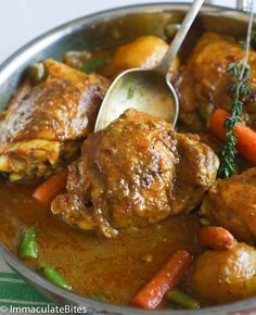 Jamaican Curry Chicken- Picture this, chicken thighs slowly cooked in spices like coriander, cardamom, cumin, ginger, fenugreek, turmeric and cayenne pepper are combined with onions, garlic, and coconut milk to create a vibrant, subtle yet strong curry flavor profile. The coconut milk not only adds richness and a lovely aroma but helps to mellow out the curry spice, so it's not too overpowering. .....