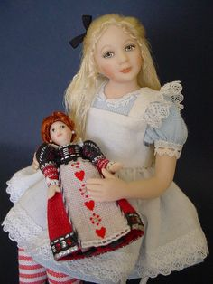 1:12 Scale Alice in Wonderland with her Queen of Hearts doll  by Debbie Dixon-Paver