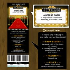 Hollywood Baby Shower invitation Ticket Style - A Star is Born