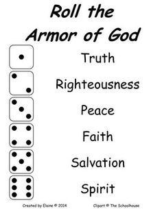 "Roll the Armor of God - Kind of Like the ""Cootie"" game, but you roll to dress your doll with the armor of God! Sunday School Games, Sunday School Lessons, Bible Study For Kids, Bible Lessons For Kids, Armor Of God Lesson, Bible Activities, Bible Games, Children's Bible, Church Activities"