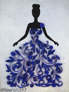 Quilling, beautiful dress on black figurine... Cute for a wedding or Quinceañera