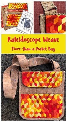 Kaleidoscope Weave - More-than-a-Pocket Bag - Sewing & Bag making project Prayer Flags, Machine Applique, Mini Quilts, Mug Rugs, Bag Making, Sewing Projects, Pocket, Fabric Weaving, Inspiration
