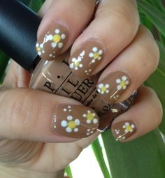 Dotting Tool Daisy Nail art on O.P.I San-tan-tonio.
