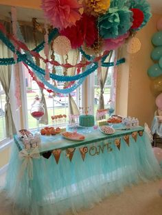 Lovely blue and pink first birthday party! See more party ideas at CatchMyParty.com!