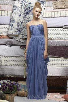 Draped Column Dipped Floor Length Chiffon Long Bridesmaid Dress